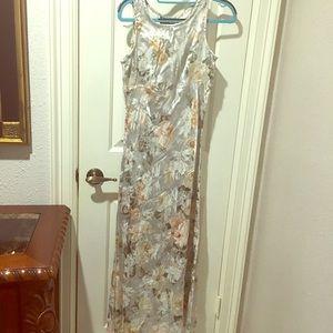 Elegant white & silver floor length slip dress